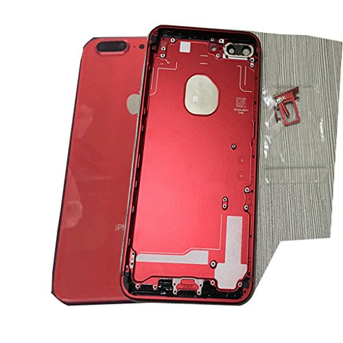 For iphone 6s Plus 5.5' to iphone 8 Plus 5.5' Rear Housing Battery door Metal Case Back Glass Cover,Red