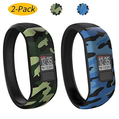 Vozehui Armband Kompatibel mit Garmin Vivofit 3 / Vivofit JR/Vivofit JR 2, verstellbare Bunte Ersatz-Sportarmbänder aus weichem Silikon für Kinder Jungen Mädchen Männer Frauen, klein groß
