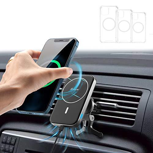 Antank Auto Ladegerät 【Kompatibel-Magsafe】, Qi Induktives Laden, Auto Halter mit 3 Handyhüllen Kompatibel mit iPhone 12/12 Pro/ 12 Pro Max/ 12 Mini, Geeignet für Quadratische und Runde Luftauslässe