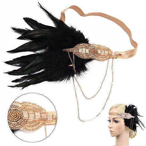 Beelittle 1920s Accessories Black Flapper Headband,Gatsby 20s Feather Headpiece (Champagne)