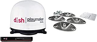 Winegard PL8000R Dish Playmaker Dual Portable Automatic Satellite Antenna with Dish Wally HD Receiver and Roof Mount Kit