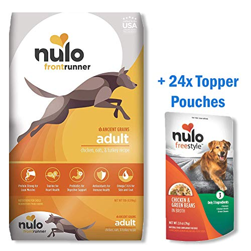 Nulo Frontrunner Dry Dog Food + Topper Pouches Bundle – Ancient Grain Inclusive Recipe - All Natural Pet Foods with High Taurine Levels - Animal Protein for Lean Strong Muscles