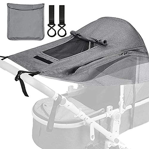 Impermeable Funda para Cochecito de Bebé, con protección UV 50+ e impermeable, toldo para cochecito con protección solar regulable para cochecito de paseo gris claro