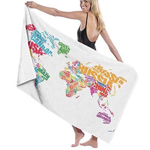 Grande Suave Ligero Microfibra Toalla de Baño Manta,Mapa del Mundo Mundo Europa América Imprimir,Hoja de Baño Toalla de Playa por la Familia Hotel Viaje Nadando Deportes,52' x 32'