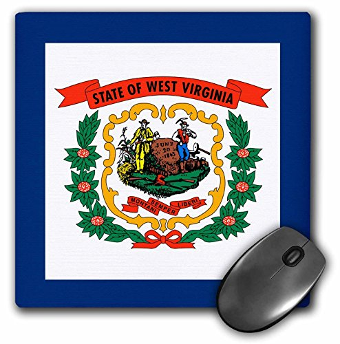 """Flag of West Virginia - US Farmer Miner Coat of Arms Wreath - Mouse Pad, 8 by 8"""" () - 3dRose mp_159829_1"""