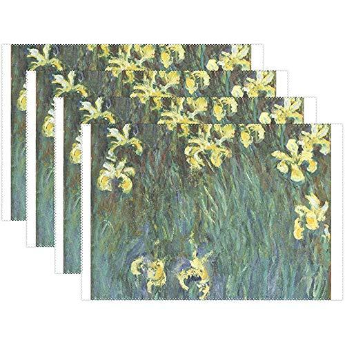 Set de table Set de 6, Iris jaunes Fleur Monet Art Peintures à l'huile Tapis de table antidérapant résistant à la chaleur pour table à manger de cuisine, 45X30Cm