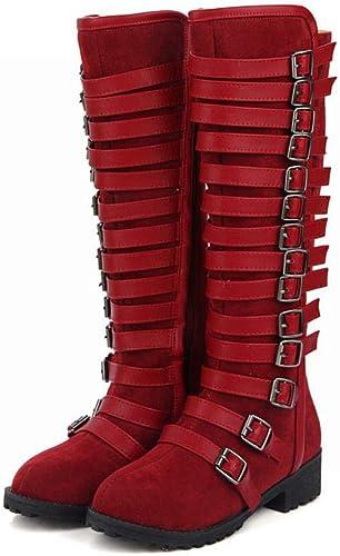Fuxitoggo Bottes pour Femmes - Bottes de Chevalier en Boucle d'hiver Fermeture latérale - Haut Talon - Bottes (Couleuré   Rouge Vineux, Taille   EU 40)