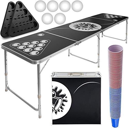 Juego de mesa de Beer Pong de altura regulable y plegable con 100 vasos, 6 bolas, 2 estantes para vasos, portalinas – Beer Pong con vasos de juego alcohólico para adultos