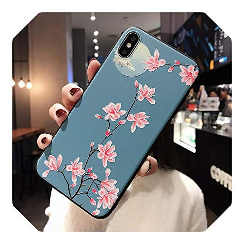 for iPhone 11 Pro Max XR Xs Max X XS 6 6S 7 8 Plus Case 3D Emboss Vintage Flower Leaf Soft TPU Phone Back Cover Shockproof Shell-H-iphone 11 pro