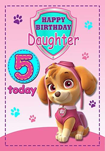 Tarjeta de cumpleaños de Paw Patrol para hija de 5 años, a todo color en el interior, publicado el mismo día.