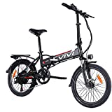 Vivi Electric Bike, 20 Inch Folding Bikes for Adults/Women/Men, 350W/500W Ebike with Removable Battery, 7 Speed Aluminum Alloy City Folding Bicycle