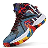 ASHION Boys Basketball Shoes Comfortable Kids Basketball Sneakers Youth Mid-top Slip-on Girls Running Shoes Lightweight Big Little Kids Shoes Indoor Outdoor Size 3 Colourful