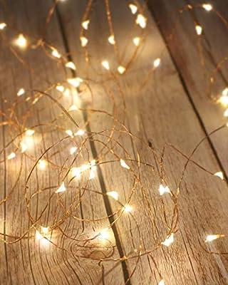 💖【2Pack 50 luces LED de hadas】: cada cadena de luces decorativas tiene un cable de cobre moldeable de 5M / 16.4 pies y 50 mini LED brillantes, utilizados para la decoración de Año Nuevo de mesa, dormitorio, boda, fiesta de Navidad. 💖【Fácil de moldear...