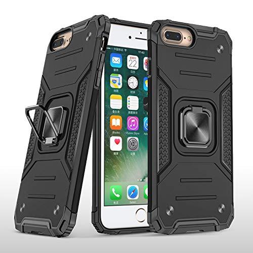MOONCASE Funda para iPhone 7 Plus, Estuche Protector a Prueba de Golpes con Soporte Anillo Cubierta Protectora Doble Capa Antiarañazos Cubierta para iPhone 7 Plus/iPhone 8 Plus - Negro