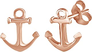 Anchor Stud Earrings In 14K Gold Over Sterling Silver