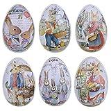 TOYANDONA 6Pcs di Pasqua Uova Dipinte Scatola di Latta Contenitore di Caramella del Metallo per I Bambini Uovo di Pasqua Caccia di Pasqua Favori di Partito