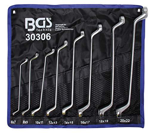 BGS 30306 | Doppel-Ringschlüssel-Satz | gekröpft | SW 6 x 7 - 20 x 22 mm | 8-tlg