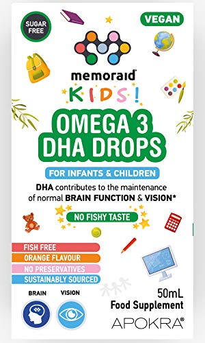 Omega 3 Vegan DHA Drops for Kids - 50mL – No Fishy Taste - Preservative Free and Sugar Free. Sustainable Algal Alternative to Fish Oil | Memoraid Kids
