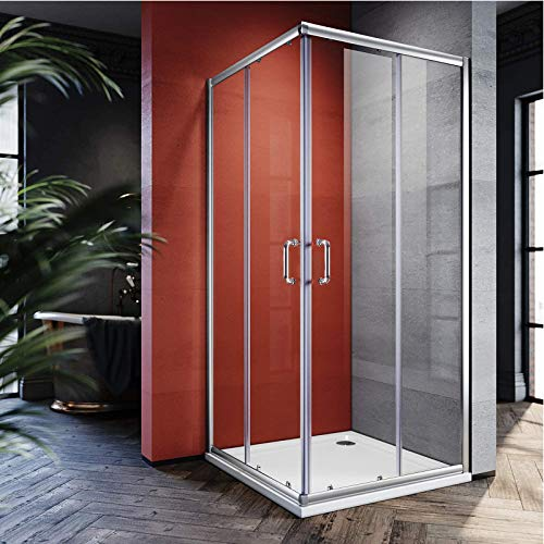 ELEGANT 36 in. D. x 36 in. W. x 72 in. H. 2 Opening Sliding Shower Enclosure, Double Sliding Shower Door 1/4 in. Clear Glass, 2 Stationary Panels, Brushed Nickel Finish