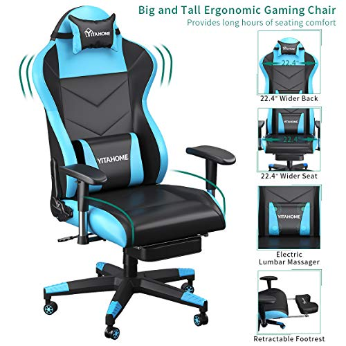 YITAHOME Massage Gaming Chair, Heavy Duty Big and Tall Computer Racing Desk Chair with footrest, and Large Size PU Leather Swivel Video Game Chair with High Back (Deluxe Light Blue) blue chair gaming