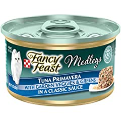 Twenty-Four (24) 3 Oz. Can - Purina Fancy Feast Medleys Tuna Primavera With Garden Veggies & Greens In A Classic Sauce Adult Wet Cat Food Tender Tuna For A Taste Cats Crave Accents Of Garden Veggies Add An Artful Touch The Delicate Gravy She Loves 10...