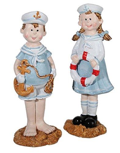 Objektkult Maritime Dekofiguren Kinderpaar im Matrosen-Look, 2er Set, Maße pro Figur: ca. 14 x 5 x 4 cm, aus Kunststein (Polyresin), schönes Geschenk für Freunde von Maritim-Deko