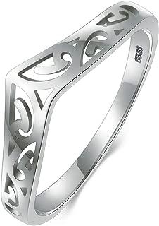 925 Sterling Silver Ring Filigree Thumb Chevron High Polish Comfort Fit Band Ring