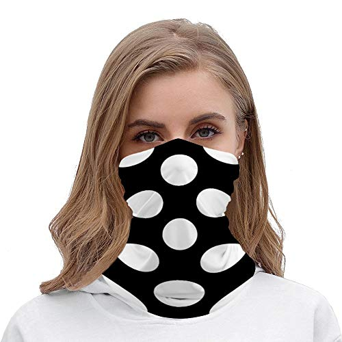 Polka Dots Spots Dotted Black White Neck Gaiter Tube Mask Headwear, Seamless Face Cover Mouth Mask Bandanas for Dust, Outdoors, Festivals, Sports