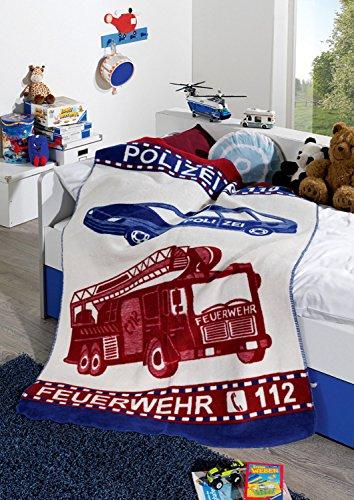 Erwin Müller Kinder-Kuscheldecke, Wohndecke Polizei und Feuerwehr blau-rot Größe 130x180 cm - pflegeleicht, strapazierstark, temparaturausgleichend - Jacquard (weitere Größen)