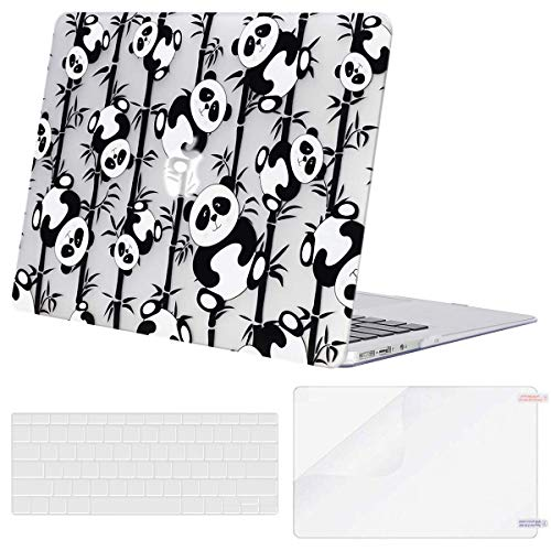 MOSISO MacBook Air 13 inch Case (A1369 & A1466, Older Version 2010-2017 Release), Plastic Pattern Hard Case&Keyboard Cover&Screen Protector Only Compatible with MacBook Air 13, Cute Panda