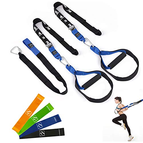 FITINDEX Resistance Training Straps 15Pcs, Fitness Resistance Trainer Kit for Full Body Workout, Home Gym Bodyweight Straps for Exercise with Handles and Resistance Loop Bands for Men or Women