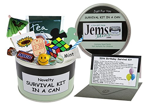 50TH BIRTHDAY SURVIVAL KIT IN A CAN. Happy 50th Birthday All In One Gift & Card. Novelty Fun -...