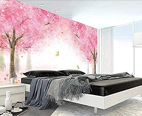 Papel pintado brillante de la flor de la mariposa del bosque de la flor de cerezo rosada romántica s Pared Pintado Papel tapiz 3D Decoración dormitorio Fotomural de estar sala sofá mural-430cm×300cm