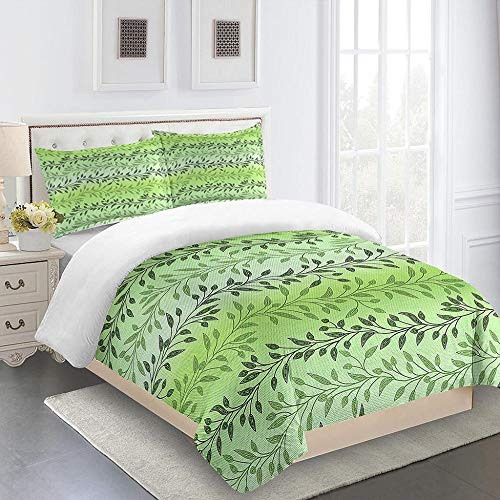 iCoCofly Quilted 3 Pieces Bedding Set with 2 Pillowcases Duvet Cover and 1 Zipper Closure Duvet Cover for Kids and Adults Soft Microfiber Hypoallergenic Bedding Set - leaves