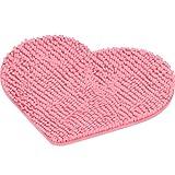 Mudder Alfombra en Forma de Corazón San Valentín Alfombra Ducha de Peluche de Corazón Alfombra de Piso Decorativa Felpudo Lavable Antideslizante Alfombra de Bienvenida, 20 x 24 Pulgadas (Rosa)