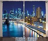 ABAKUHAUS Stadt Rustikaler Vorhang, Ansicht von New York City, Wohnzimmer Universalband Gardinen mit Schlaufen und Haken, 280 x 175 cm, Dunkelblau