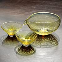 glass calico グラスキャリコ ハンドメイド ガラス酒器 月光 (げっこう) 冷酒器セット (片口・ぐい呑 2個)