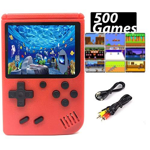 Handheld Spielkonsole, Retro Konsole transportabel 500 Klassische Spiel TV-Spielekonsolen AV Kabel 3 Zoll Bildschirm Game (Rot)
