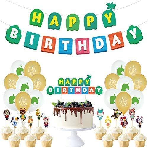 Kit de Decoraciones de Cumpleaños de Animal Crossing Globos de Látex de Animal Crossing Cupcake Toppers Pancarta de Fiesta de Animal Crossing Suministros de Fiesta Temáticos de Superhéroes