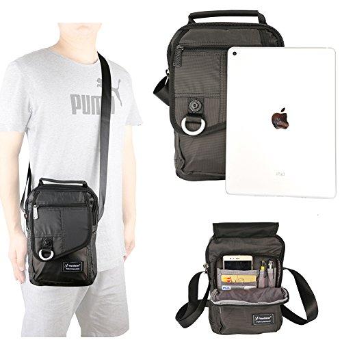 Vertical Messenger Bag, Crossbody Bag, Vanlison Shoulder Bag Work Satchel for iPad Tablet Kindle Black