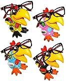 alles-meine.de GmbH 4 STück _ Brillenhalter -  lustiger Vogel - Papagei Ara / Hahn - Tukan / Gockel  - stabil aus Kunstharz - universal Größe - lustiger Brillenständer - für So..
