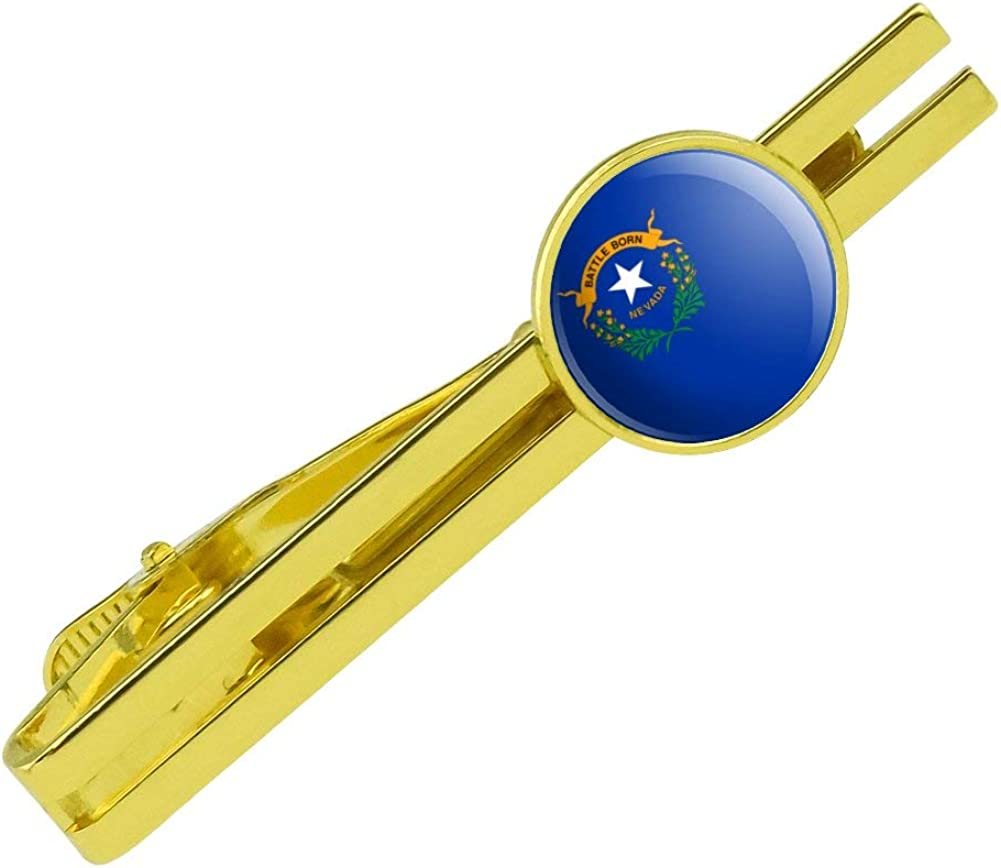 GRAPHICS & MORE Nevada State Flag Round Tie Bar Clip Clasp Tack Gold Color Plated