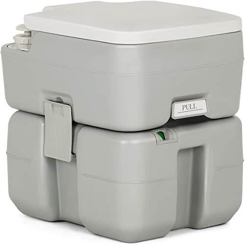 Giantex Portable RV Toilet 5.3 Gallon with Level Indicator,3-Piston Pump Flush,Fresh Water and Waste Split Tank for Camping, Travel Trips,Hiking, Boating Road-tripping Outdoor Travel Portable Toilet