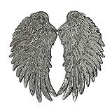 LIOOBO 1 par de Parches Bordados de alas de ángel, Hacer Manualidades con Lentejuelas, Apliques Bordados, Parches de Purpurina para Ropa de Lentejuelas, Vaqueros, Camiseta, Plateado, Plateado
