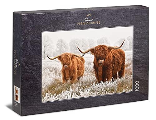 Ulmer Puzzleschmiede - Puzzle 'Amici d'inverno' - Due bovini di montagna al pascolo in inverno