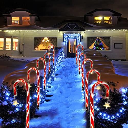 Zuckerstangen Lichterketten Weihnachtsweg Marker,8 Stück LED Weihnachten Solar Zuckerstange Lichterketten Gartenstäbe Beleuchtete Zuckerstangen Lichter, für Garten Dekoration, Weihnachtsdeko (Stern)
