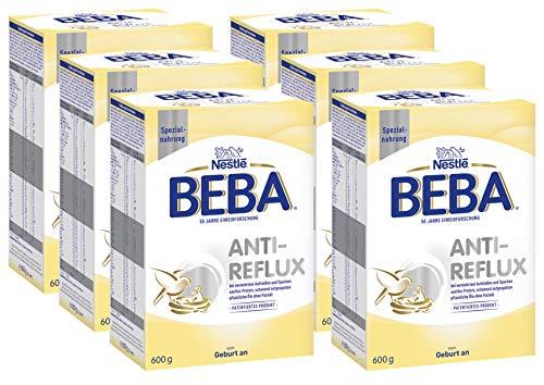 Nestlé BEBA AR, Anti-Reflux Spezialnahrung, Anfangsmilch, von Geburt an, 6er Pack (6 x 600 g)