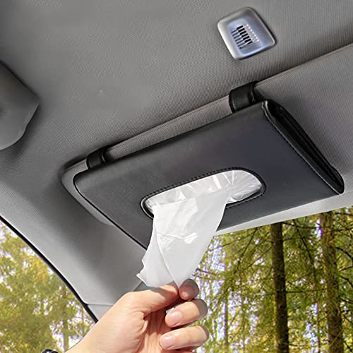 Ayw Lee car Tissue Holder, mask Holder for car, Tissue Holder for car, Car Visor Tissue Paper Storage Cases for Universal Auto, PU Leather Tissue Box for Car Sun Visor & Seat Back(Black)