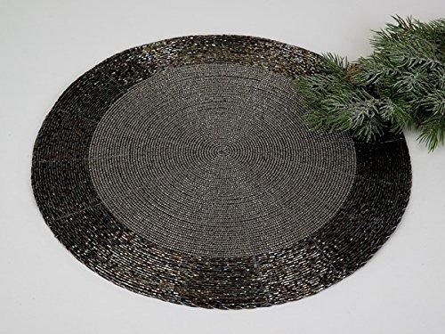 Formano 2er Set Untersetzer 35 cm - Perlen schwarz Silber irisierend mit Kratzschutz