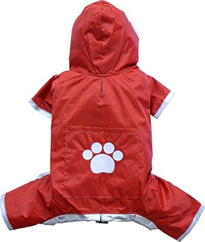 Doggy Dolly DR006 Regenmantel für Hunde Vier Pfoten, rot, Größe : XXS
